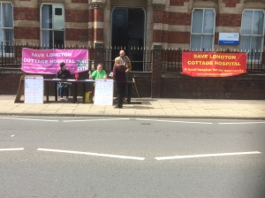 SLCH - protest No 2 outside CCG - signing the petition