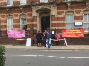 SLCH - protest outside CCG - signing the petition