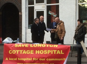 Petition with 10,000 names handed over to Health Bosses outside Longton Fire Station