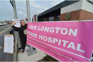 Another part of the 10,000 name hand over outside Longton Fire Station. Pictured with petitions is Chris Caci a supporter of TUSC and Save Longton Cottage Hospital.